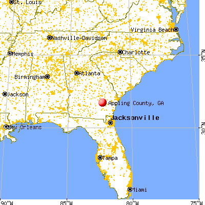Appling County, GA map from a distance