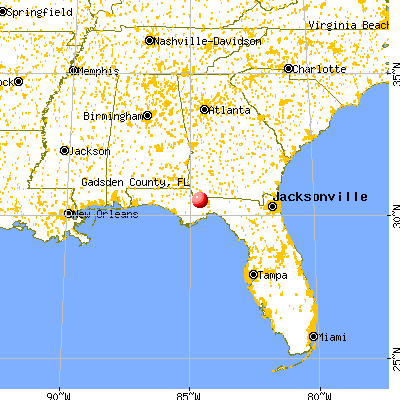 Gadsden County, FL map from a distance