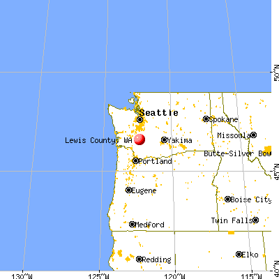 Lewis County, WA map from a distance