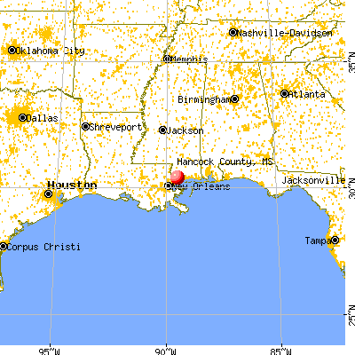 Hancock County, MS map from a distance