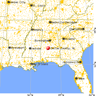Dallas County, AL map from a distance