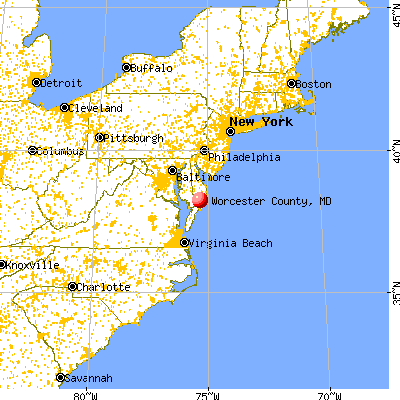 Worcester County, MD map from a distance