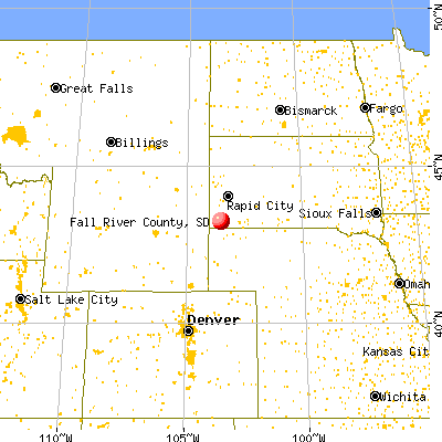 Fall River County, SD map from a distance