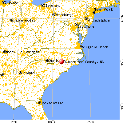 Cumberland County, NC map from a distance