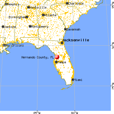 Hernando County, FL map from a distance