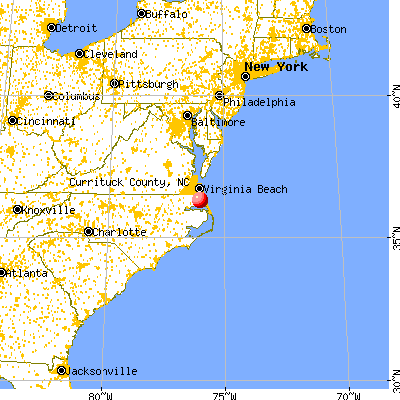 Currituck County, NC map from a distance