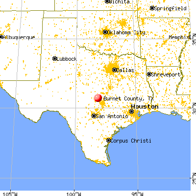 Burnet County, TX map from a distance