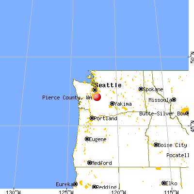 Pierce County, WA map from a distance