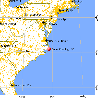Dare County, NC map from a distance
