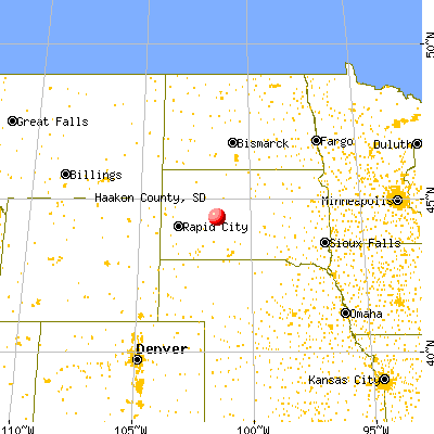 Haakon County, SD map from a distance