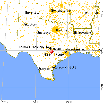 Caldwell County, TX map from a distance
