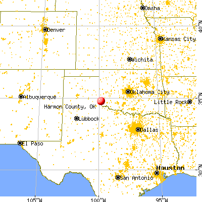 Harmon County, OK map from a distance