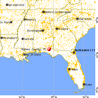 Holmes County, FL map from a distance