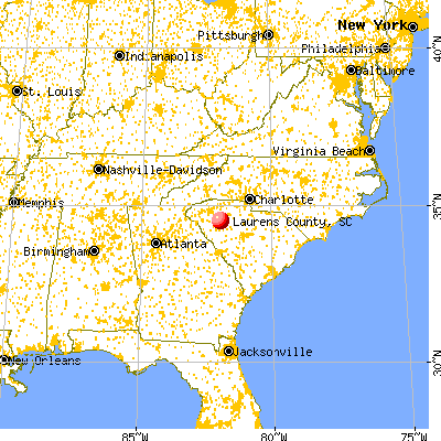 Laurens County, SC map from a distance