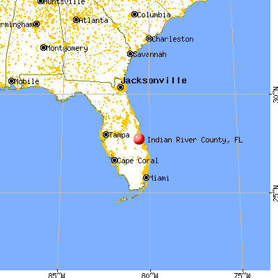 Indian River County, FL map from a distance