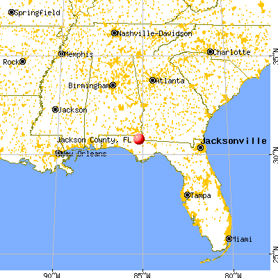 Jackson County, FL map from a distance