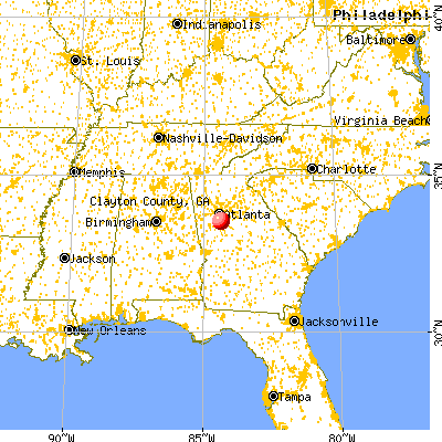 Clayton County, GA map from a distance