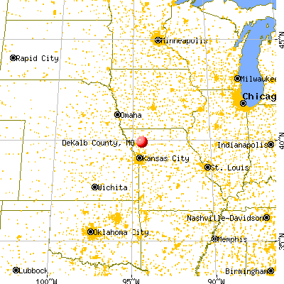 DeKalb County, MO map from a distance