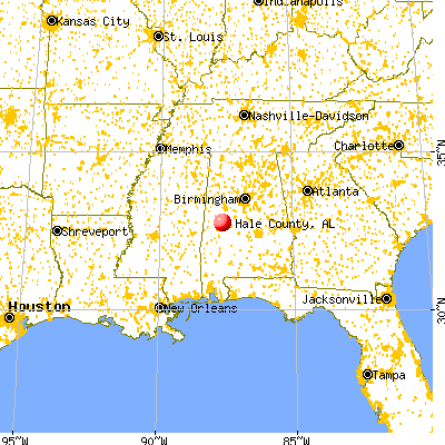 Hale County, AL map from a distance