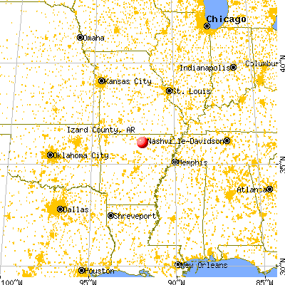 Izard County, AR map from a distance