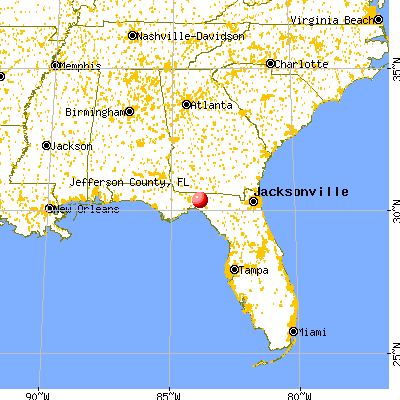 Jefferson County, FL map from a distance