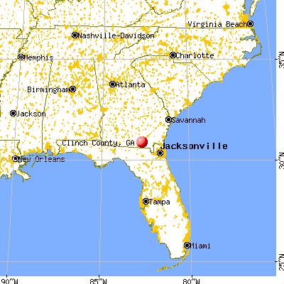 Clinch County, GA map from a distance