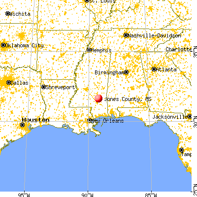 Jones County, MS map from a distance
