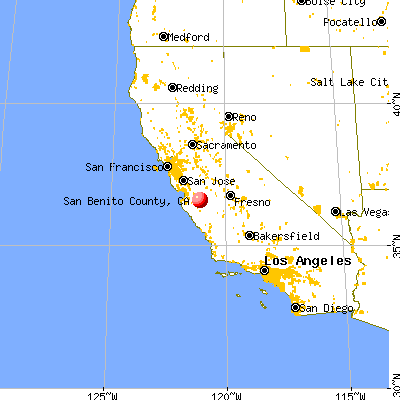 San Benito County, CA map from a distance