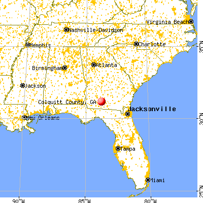 Colquitt County, GA map from a distance
