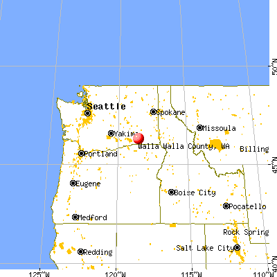 Walla Walla County, WA map from a distance