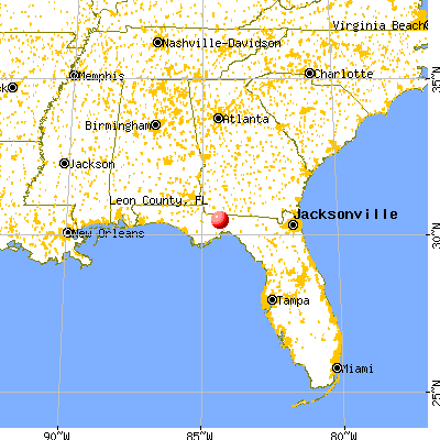 Leon County, FL map from a distance