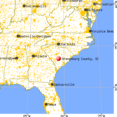 Orangeburg County, SC map from a distance