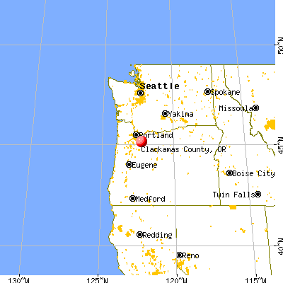 Clackamas County, OR map from a distance