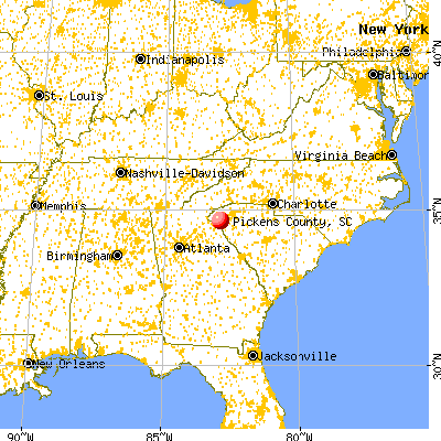 Pickens County, SC map from a distance