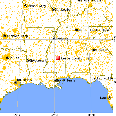 Leake County, MS map from a distance