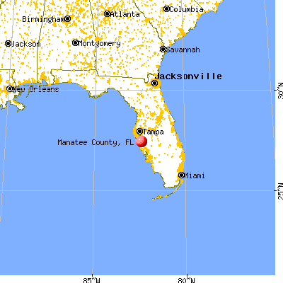 Manatee County, FL map from a distance