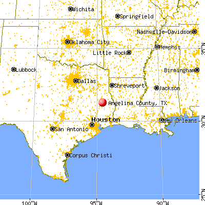 Angelina County, TX map from a distance