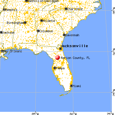 Marion County, FL map from a distance
