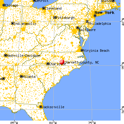 Harnett County, NC map from a distance