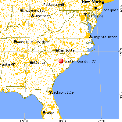 Sumter County, SC map from a distance