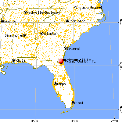 Nassau County, FL map from a distance
