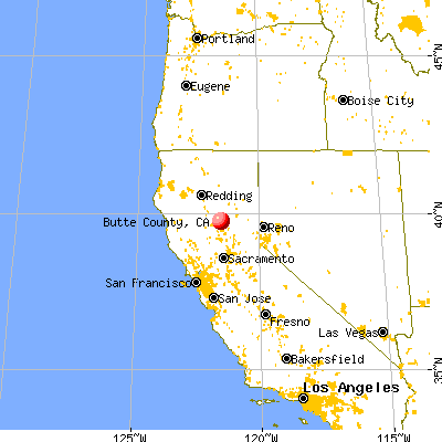 Butte County, CA map from a distance