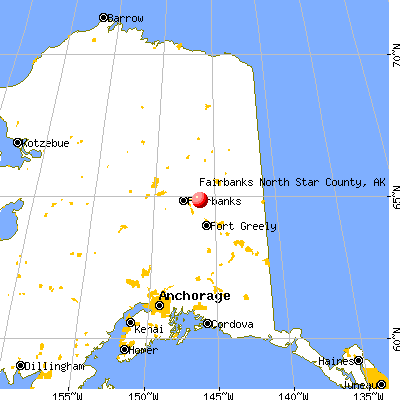 Fairbanks North Star Borough, AK map from a distance
