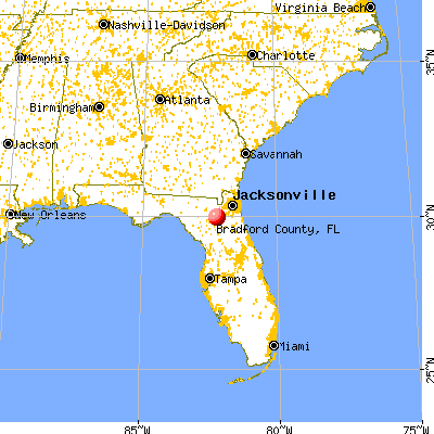 Bradford County, FL map from a distance