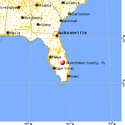 Okeechobee County, FL map from a distance