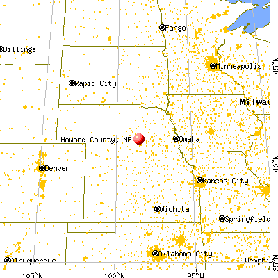 Howard County, NE map from a distance