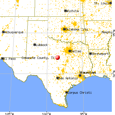Comanche County, TX map from a distance