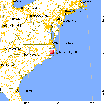 Hyde County, NC map from a distance