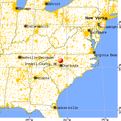 Iredell County, NC map from a distance