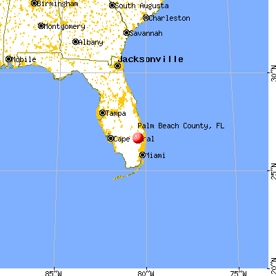Palm Beach County, FL map from a distance